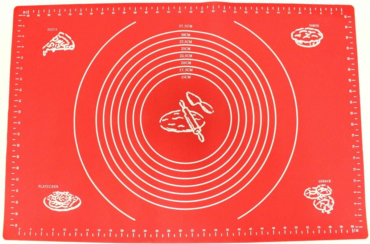 Коврик для выпечки Domodin, цвет: красный, 40 х 60 смSL4019-5Коврик для выпечки изготовлен из силикона, поэтому легко гнется и выдерживает температуру до +230 °С. Предназначен для гигиеничного приготовления любой выпечки из теста. Коврик оснащен мерной шкалой по краям (60 см х 40 см) и круглым шаблоном для теста (диаметр 15-37,5 см). Раскатывая тесто на таком коврике, вы всегда сможете придать ему нужный размер. Кроме того, тесто не прилипает. Коврик очень удобный и облегчит приготовление теста.