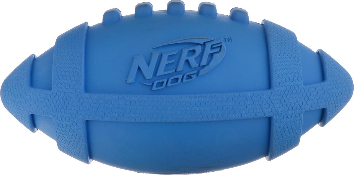 Игрушка для собак Nerf Мяч для регби, пищащий, цвет: синий, 17,5 см22231_синийИгрушка для собак Nerf Мяч для регби, пищащий, цвет: синий, 17,5 см