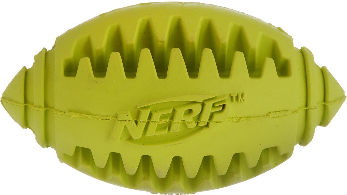 Игрушка для собак Nerf Рифленый мяч для регби, длина 8 см22354_салатовыйИгрушка для собак Nerf Рифленый мяч для регби выполнена из резины в форме мяча для регби. Игрушка оснащена пищалкой, что вызовет дополнительный интерес вашего питомца. Такая игрушка порадует вашего любимца, а вам доставит массу приятных эмоций, ведь наблюдать за игрой всегда интересно и приятно. Размер игрушки: 4,5 х 4,5 х 8 см.