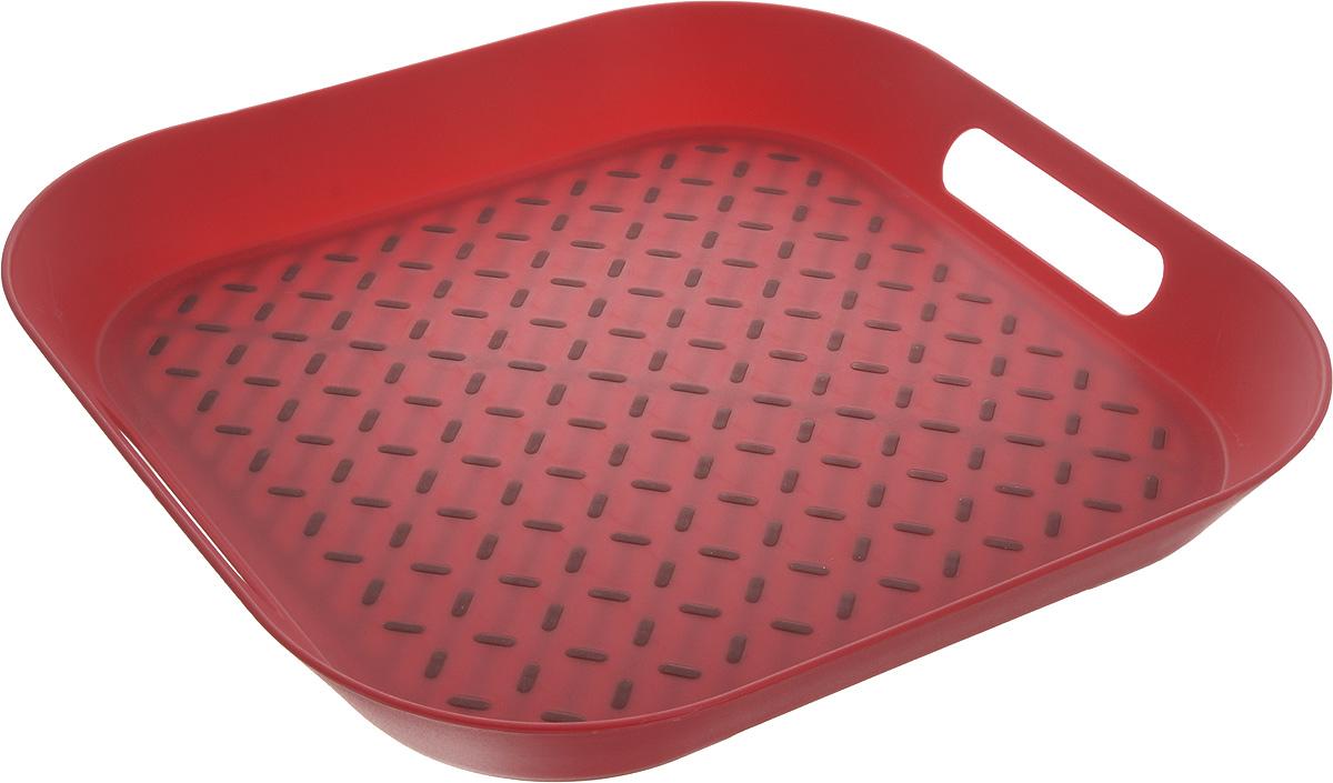 Поднос Zeller, цвет: красный, 34 х 34 х 4,3 см26678_красныйОригинальный поднос Zeller, изготовленный из прочного пищевого пластика, станет незаменимым предметом для сервировки стола. Изделие снабжено специальными прорезиненными вставками, которые предотвращают скольжение посуды. Основание подноса также имеет резиновые вставки. Для удобства переноски предусмотрены удобные ручки и высокие бортики. Такой поднос станет полезным и практичным приобретением для вашей кухни.