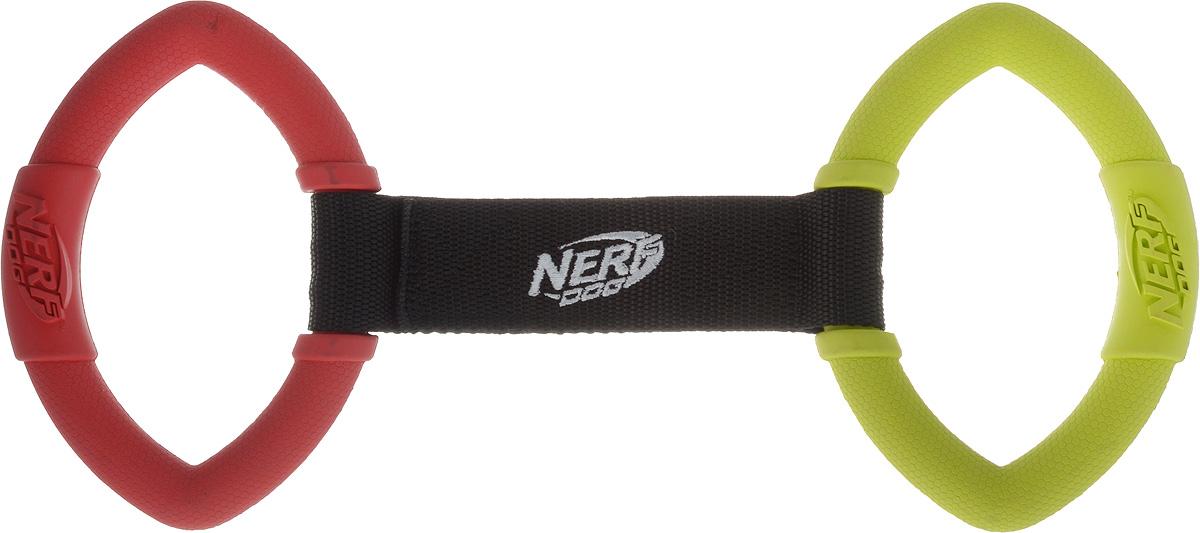 """Игрушка для собак Nerf """"Кольца резиновые"""", с нейлоновой перемычкой, цвет: красный, салатовый, 32,5 см"""