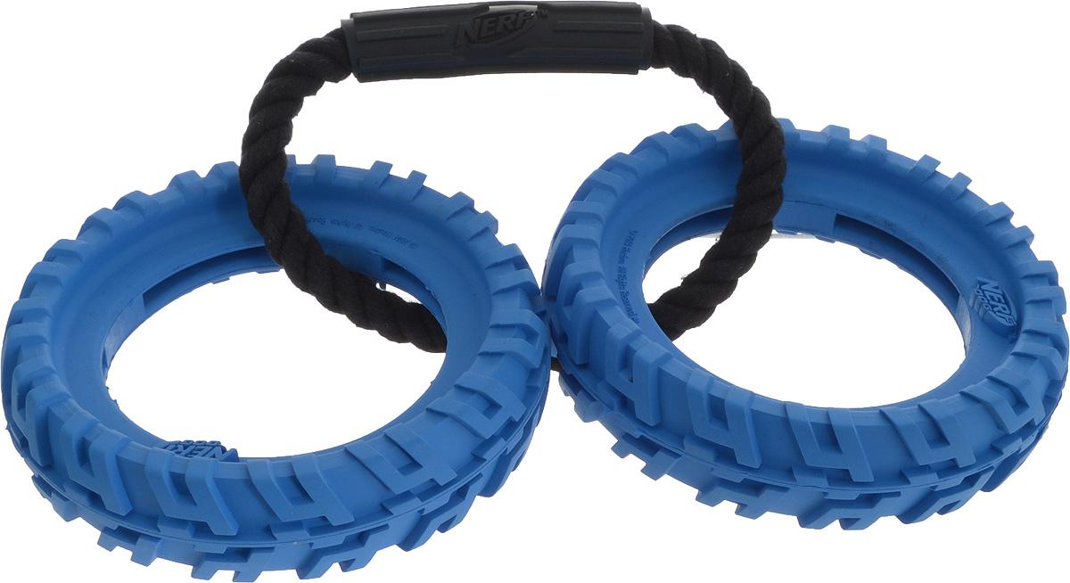 Игрушка для собак Nerf Шина, с ручкой, цвет: синий, 27,5 см22507_синийИгрушка для собак Nerf Шина, с ручкой, цвет: синий, 27,5 см