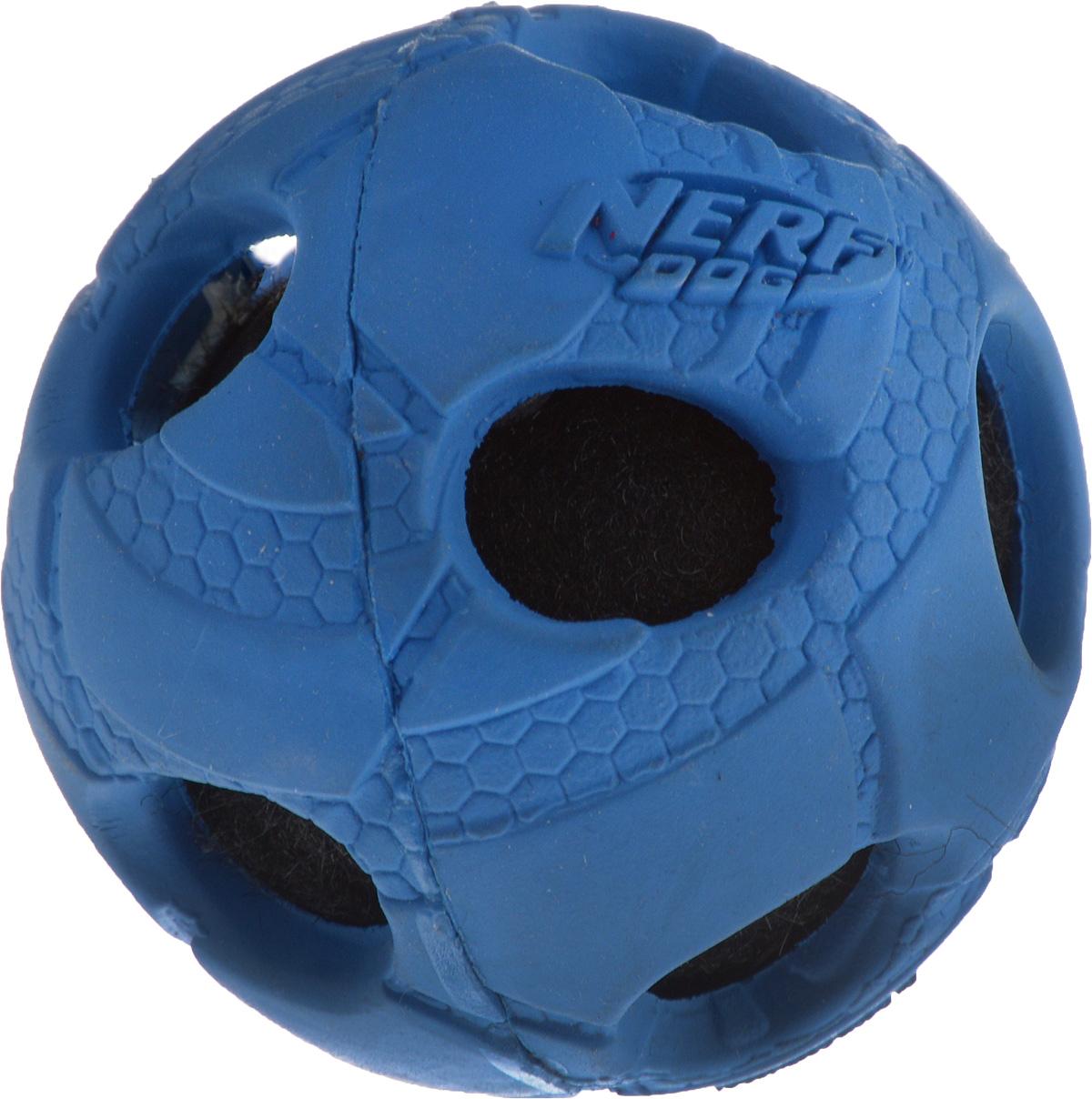 Игрушка для собак Nerf Мяч, с отверстиями, цвет: синий, черный, 5 см22262_синий, черныйИгрушка для собак Nerf Мяч, с отверстиями, цвет: синий, черный, 5 см
