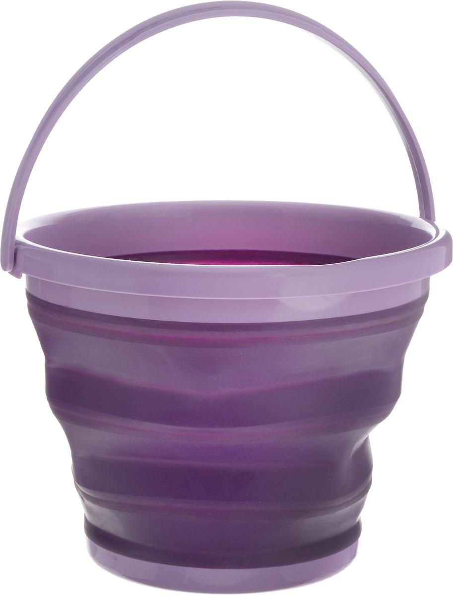 Ведро складное York Prestige, цвет: фиолетовый, сиреневый, 10 л7113_фиолетовый, сиреневыйСкладное ведро York Prestige изготовлено из термопластичной резины и пластика. Благодаря гибкости и пластичности материала, ведро легко складывается и раскладывается. В сложенном состоянии занимает минимум места. Пластиковые вставки отлично держат форму изделия. Ведро прекрасно подходит для хранения различных бытовых вещей и других предметов. Для удобной переноски имеется пластиковая ручка. Такое практичное и функциональное ведро пригодится в любом хозяйстве. Высота в сложенном виде: 5 см.