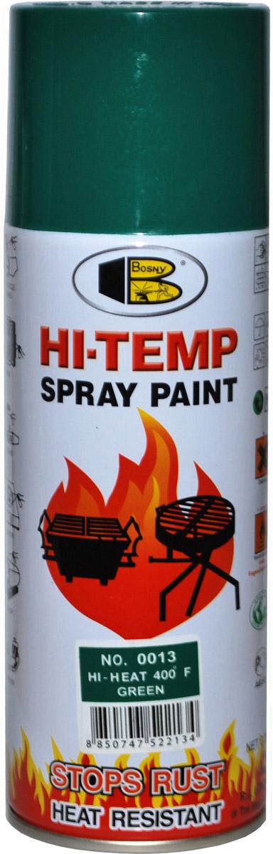 Аэрозольная краска Bosny, до 205°С, цвет: 0013 зеленый, 400 млOO13Термостойкая краска производится из специальной смолы. Термостойкая краска выдерживает нагрев до 205 С. Не расслаивается и не отстает при воздействии высокой температуры. Для любителей делать ремонт быстро и оперативно термостойкая краска станет настоящей палочкой - выручалочкой, так как она содержит в своем составе быстросохнущие компоненты, которые позволяют выполнять все работы по покраске в кратчайшие сроки. В качестве защитного механизма у термостойкой краски включены в состав компоненты из микрочастиц закаленного стекла, которые позволяют обеспечивать необходимый барьер для влаги. Краска станет идеальным средством для работы на площадях, где есть резкий контраст температур. Она будет идеальна для покраски труб тепловых сетей, а также для использования на заводах и котельных, где оборудование и технические коммуникации испытывают большое температурное воздействие. Примечательно и то, что она может быть нанесена даже на ржавую поверхность, если есть необходимость сохранить участок...