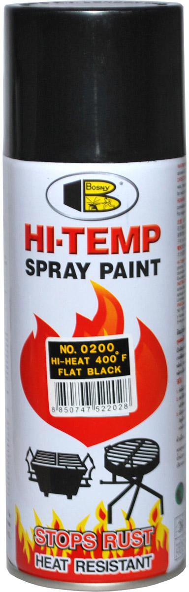 Аэрозольная краска Bosny, до 205°С, цвет: o200 черный матовый, 400 млO200Термостойкая краска производится из специальной смолы. Термостойкая краска выдерживает нагрев до 205 С. Не расслаивается и не отстает при воздействии высокой температуры. Для любителей делать ремонт быстро и оперативно термостойкая краска станет настоящей палочкой - выручалочкой, так как она содержит в своем составе быстросохнущие компоненты, которые позволяют выполнять все работы по покраске в кратчайшие сроки. В качестве защитного механизма у термостойкой краски включены в состав компоненты из микрочастиц закаленного стекла, которые позволяют обеспечивать необходимый барьер для влаги. Краска станет идеальным средством для работы на площадях, где есть резкий контраст температур. Она будет идеальна для покраски труб тепловых сетей, а также для использования на заводах и котельных, где оборудование и технические коммуникации испытывают большое температурное воздействие. Примечательно и то, что она может быть нанесена даже на ржавую поверхность, если есть необходимость сохранить участок...