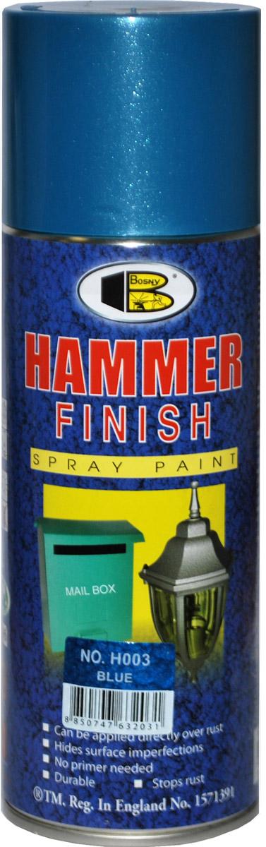 Аэрозольная краска Bosny Молотковая , цвет: h003 синяя, 400 млH003Быстросохнущая молотковая акриловая аэрозольная краска. Применяется для окрашивания металлических предметов, в том числе автомобилей, мотоциклов, деталей мебели, кухонной утвари, инструментов, станков, деталей итерьера и проч. Может наноситься поверх ржавчины, скрывает дефекты поверхности, не требует предварительной грунтовки, быстро сохнет, стойкая, останавливает ржавчину, обладает высоким глянцем. Атмосферостойкая: не выцветает, не желтеет. Не содержит свинца и ртути.Применение: Наносить на чистую, сухую поверхность. Преред работой тщательно встряхнуть баллончик. Второй слой можно наносить через 1-2 минуты. Срок годности 5 лет