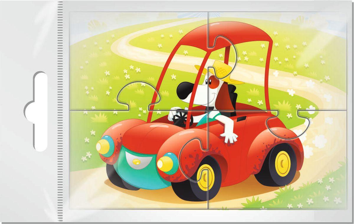 Издательская группа Квадра Магнитный пазл для малышей Собачка за рулем
