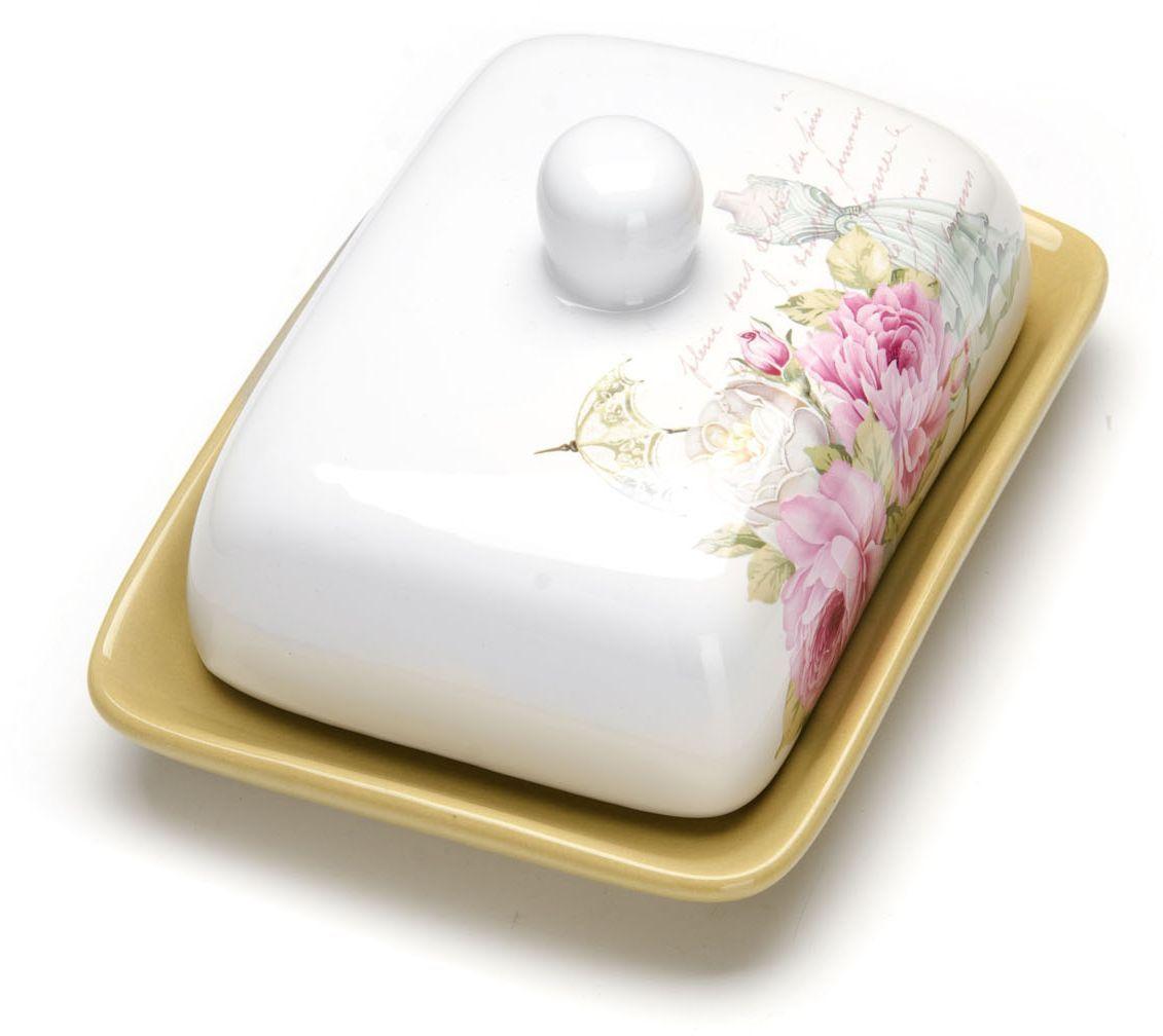 Масленка с крышкой Loraine Пионы. 2632426324Масленка Loraine, выполненная из качественной доломитовой керамики и декорированная ярким рисунком, станет украшением интерьера вашей кухни. Масленка надежно закрывается керамической крышкой и прекрасно подойдет для хранения и сервировки масла, сыра, творога. Масленка рассчитана примерно на 200 г. масла. Пригодна для использования в холодильнике, морозильнике, микроволновой печи. Подходит для мытья в посудомоечной машине.