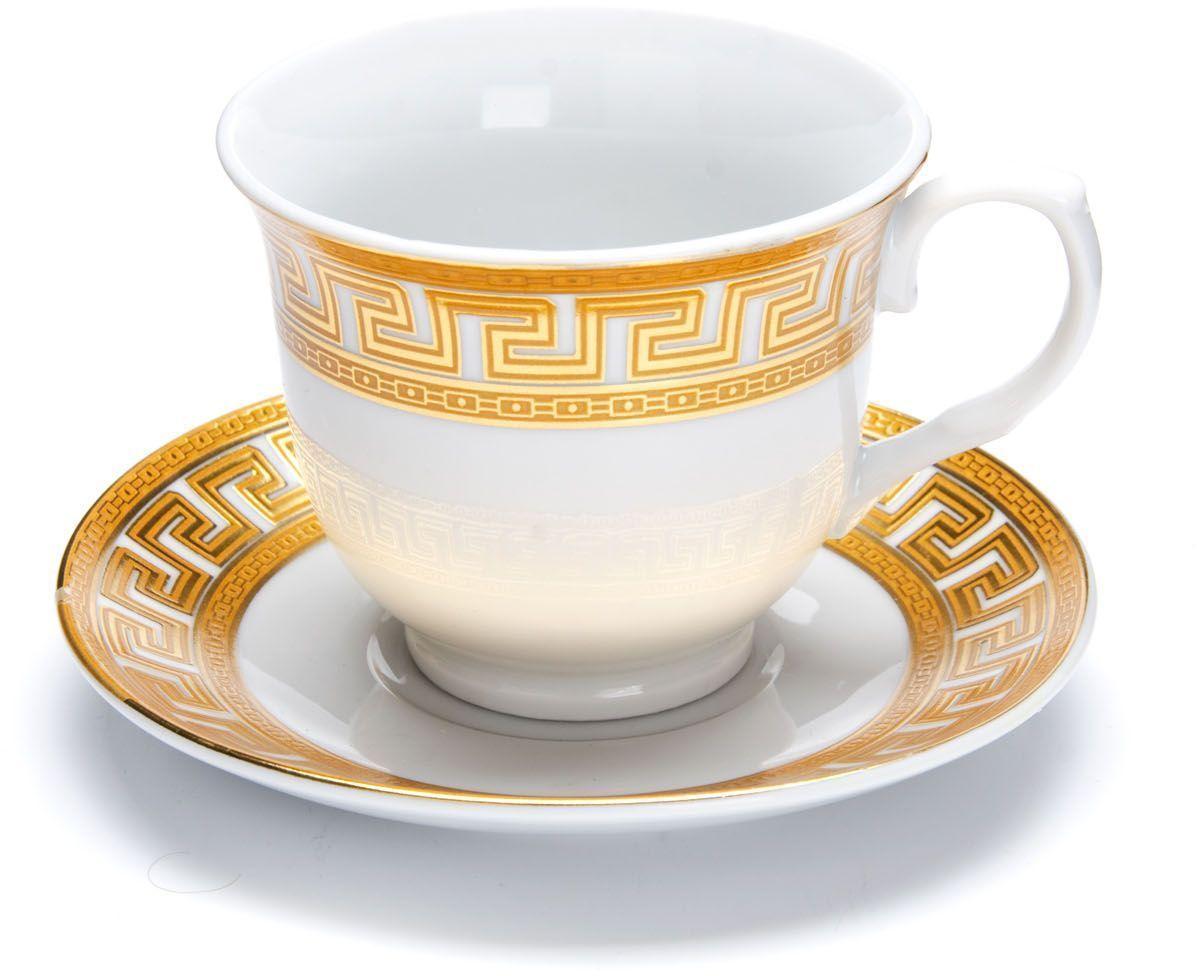 Чайный сервиз Loraine Версаче, 220 мл. 2642226422Чайный сервиз Loraine на 6 персон выполнен из высококачественной керамики белого цвета и украшен широким золотым орнаментом в греческом стиле. Изящный дизайн придется по вкусу и ценителям классики, и тем, кто предпочитает утонченность и изысканность. Сервиз упакован в круглую подарочную коробку. Каждый предмет надежно зафиксирован внутри коробки благодаря специальным выемкам. Элегантный и стильный чайный сервиз не только украсит сервировку стола, но и поднимет настроение и превратит процесс чаепития в одно удовольствие. Чайный сервиз - идеальный и необходимый подарок для вашего дома и для ваших друзей в праздники, юбилеи и торжества! В наборе: 6 чашек и 6 блюдец.