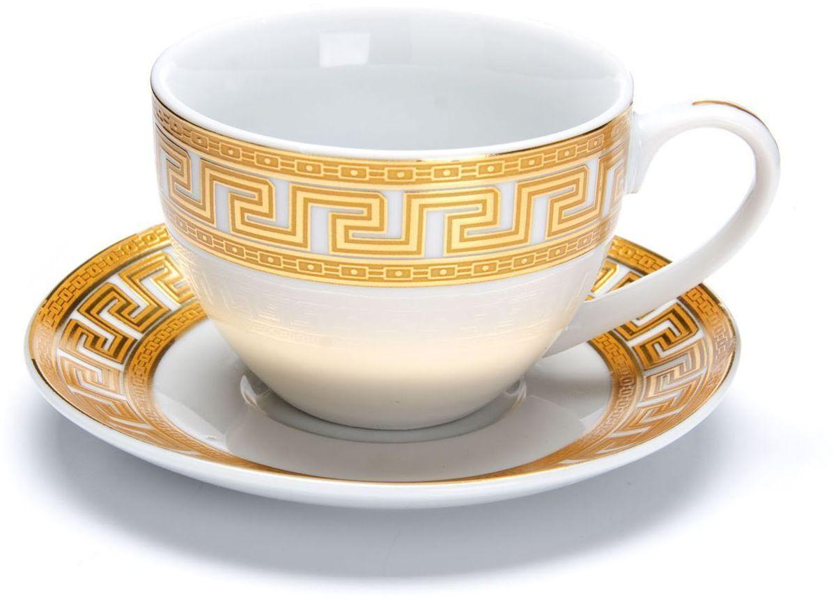 Чайный сервиз Loraine Версаче, 220 мл. 2642326423Чайный сервиз Loraine на 6 персон выполнен из высококачественной керамики белого цвета и украшен широким золотым орнаментом в греческом стиле. Изящный дизайн придется по вкусу и ценителям классики, и тем, кто предпочитает утонченность и изысканность. Сервиз упакован в круглую подарочную коробку. Каждый предмет надежно зафиксирован внутри коробки благодаря специальным выемкам. Элегантный и стильный чайный сервиз не только украсит сервировку стола, но и поднимет настроение и превратит процесс чаепития в одно удовольствие. Чайный сервиз - идеальный и необходимый подарок для вашего дома и для ваших друзей в праздники, юбилеи и торжества! В наборе: 6 чашек и 6 блюдец.