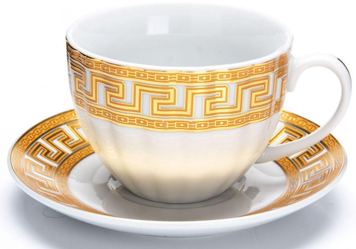 Чайный сервиз Loraine Версаче, 220 мл. 2642426424Чайный сервиз Loraine на 6 персон выполнен из высококачественной керамики белого цвета и украшен широким золотым орнаментом в греческом стиле. Изящный дизайн придется по вкусу и ценителям классики, и тем, кто предпочитает утонченность и изысканность. Сервиз упакован в круглую подарочную коробку. Каждый предмет надежно зафиксирован внутри коробки благодаря специальным выемкам. Элегантный и стильный чайный сервиз не только украсит сервировку стола, но и поднимет настроение и превратит процесс чаепития в одно удовольствие. Чайный сервиз - идеальный и необходимый подарок для вашего дома и для ваших друзей в праздники, юбилеи и торжества! В наборе: 6 чашек и 6 блюдец.