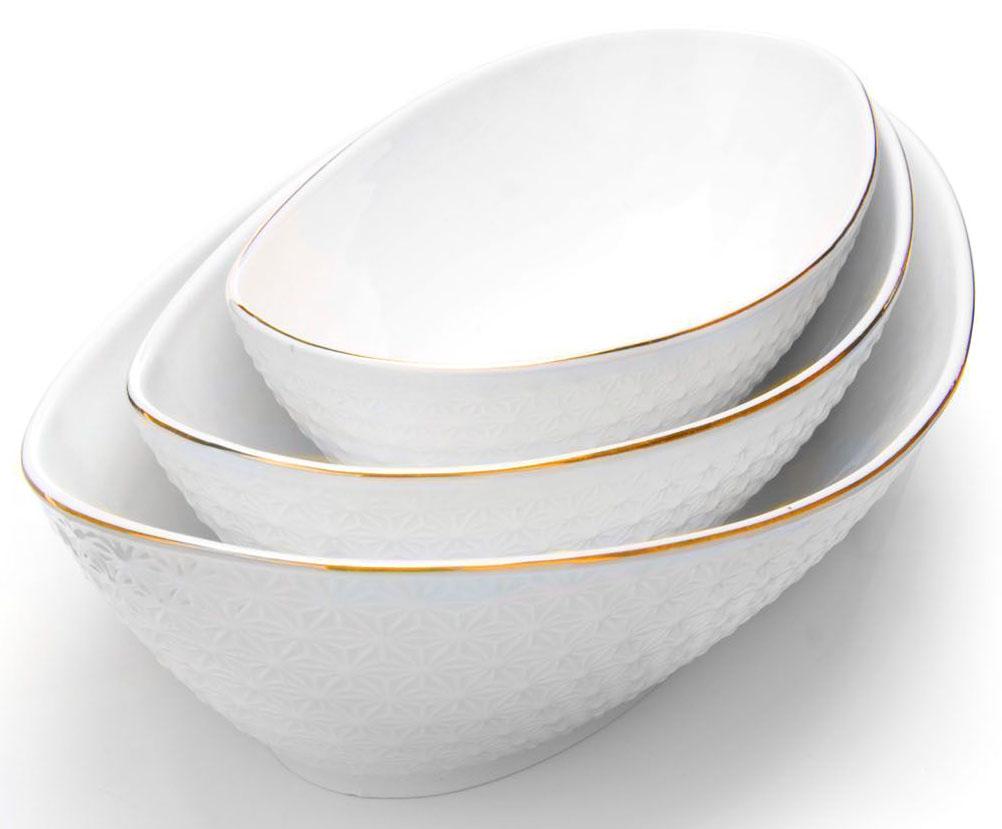 Набор салатников Loraine, 3 предмета, 23 х 28 х 33 см. 2651526515Набор салатников Loraine великолепная и изящная модель, которая станет превосходным дополнением, как для вашего повседневного стола, так и праздничной сервировки. Прекрасно подойдет как для подачи салатов или гарниров. Приготовление пищи с использованием такой посуды становиться более приятным и легким процессом, так как в ней удобно перемешивать продукты и ее легко мыть. Подходит для мытья в посудомоечной машине.