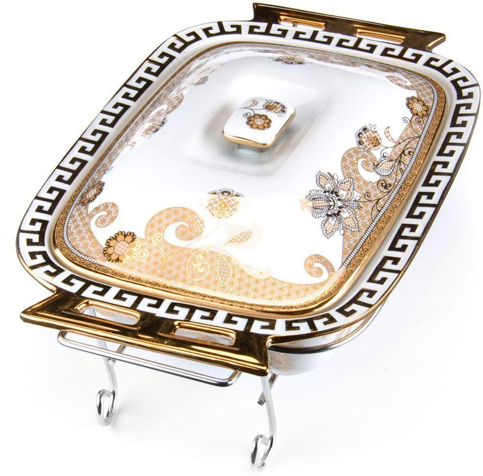 Мармит Loraine, керамика, 2,6 л, 3 предмета, со свечкой. 2654326543Мармит Loraine выполнен из керамики белого цвета, украшенной рисунком. Керамическая чаша с удобными ручками располагается на стальной подставке с двумя подсвечниками для чайных свечей (входят в комплект). Свечи, устанавливающиеся на подставке, нагревают чашу снизу, таким образом поддерживая нужную температуру приготовленного блюда. Керамическая крышка с удобной ручкой плотно прикрывает чашу сверху, в свою очередь также не давая остыть блюду. Благодаря своему элегантному дизайну, мармит с приготовленным блюдом можно сразу подавать на стол, не перекладывая еду на сервировочные тарелки. Изящный, с современным дизайном, мармит украсит любой праздничный стол, а блюда в нем будут всегда теплыми и ароматными. Керамическая чаша (без подставки) подходит для использования в духовом шкафу и микроволновой печи. Подходит для мытья в посудомоечной машине. Подходит для хранения в холодильнике.