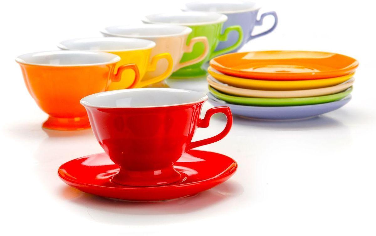 Чайный сервиз Loraine, 240 мл, подарочная упаковка. 2655426554Чайный набор Loraine на 6 персон, выполненный из качественной цветной керамики, состоит из 6 чашек и 6 блюдец. Цвет изделий: фиолетовый, кремовый, зеленый, красный, желтый, оранжевый. Изящный дизайн и красочность оформления придутся по вкусу и ценителям классики, и тем, кто предпочитает утонченность и изысканность. Чайный набор - идеальный и необходимый подарок для вашего дома и для ваших друзей в праздники, юбилеи и торжества! Набор настроит на позитивный лад и подарит хорошее настроение с самого утра! Чайный набор упакован в индивидуальную коробку.