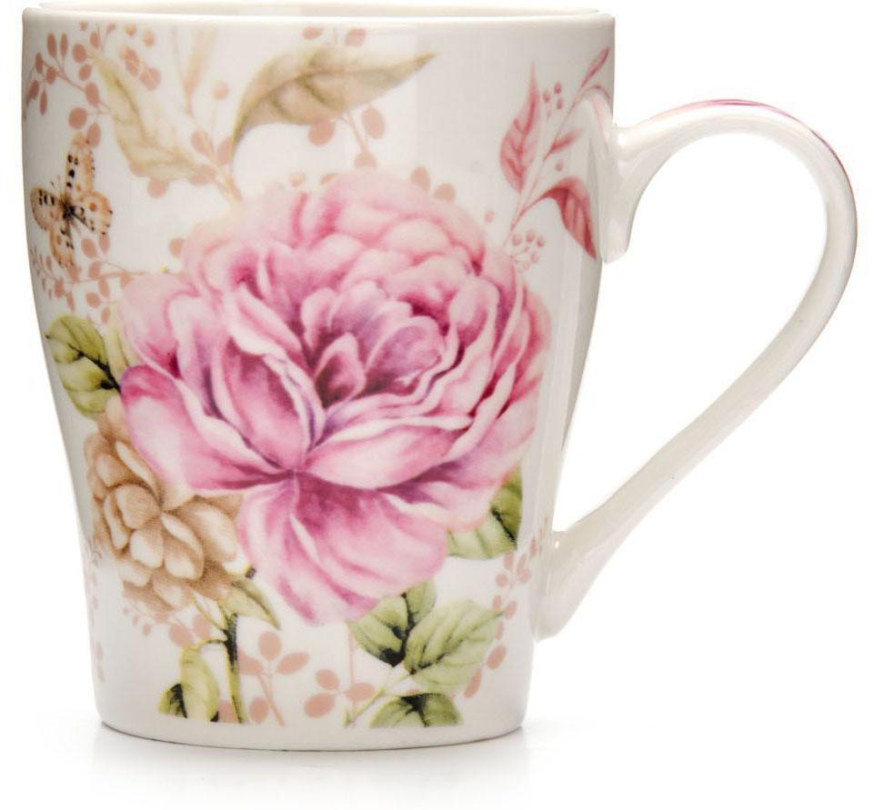 Кружка Loraine Цветы, 340 мл, подарочная упаковка. 2657226572Кружка Loraine, выполненная из костяного фарфора и украшенная ярким рисунком, станет красивым и полезным подарком для ваших родных и близких. Дизайн изделия придется по вкусу и ценителям классики, и тем, кто предпочитает утонченность и изысканность. Кружка Loraine настроит на позитивный лад и подарит хорошее настроение с самого утра. Изделие пригодно для использования в микроволновой печи и холодильника. Подходит для мытья в посудомоечной машине.