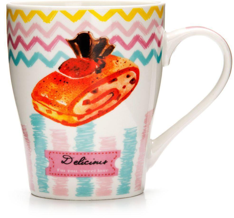 Кружка Loraine Десерт, 340 мл, подарочная упаковка. 2657526575Кружка Loraine, выполненная из костяного фарфора и украшенная ярким рисунком, станет красивым и полезным подарком для ваших родных и близких. Дизайн изделия придется по вкусу и ценителям классики, и тем, кто предпочитает утонченность и изысканность. Кружка Loraine настроит на позитивный лад и подарит хорошее настроение с самого утра. Изделие пригодно для использования в микроволновой печи и холодильника. Подходит для мытья в посудомоечной машине.