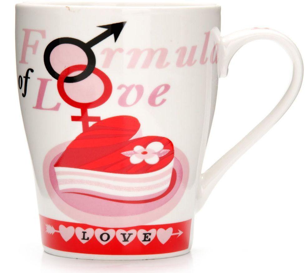 Кружка Loraine Любовь, 340 мл, подарочная упаковка. 2657726577Кружка Loraine, выполненная из костяного фарфора и украшенная ярким рисунком, станет красивым и полезным подарком для ваших родных и близких. Дизайн изделия придется по вкусу и ценителям классики, и тем, кто предпочитает утонченность и изысканность. Кружка Loraine настроит на позитивный лад и подарит хорошее настроение с самого утра. Изделие пригодно для использования в микроволновой печи и холодильника. Подходит для мытья в посудомоечной машине.