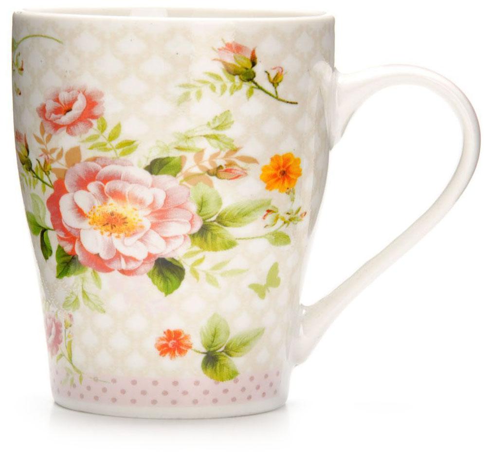 Кружка Loraine Цветы, 340 мл, подарочная упаковка. 26581-126581-1Кружка Loraine, выполненная из костяного фарфора и украшенная ярким рисунком, станет красивым и полезным подарком для ваших родных и близких. Дизайн изделия придется по вкусу и ценителям классики, и тем, кто предпочитает утонченность и изысканность. Кружка Loraine настроит на позитивный лад и подарит хорошее настроение с самого утра. Изделие пригодно для использования в микроволновой печи и холодильника. Подходит для мытья в посудомоечной машине.