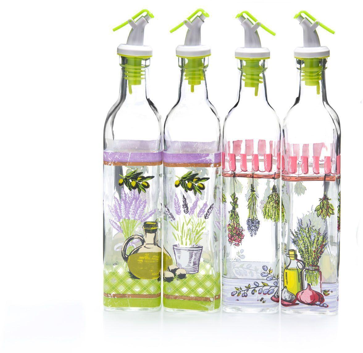 Бутылка для масла Mayer&Boch, 500 мл . 2667326673Бутылка для масла/уксуса выполнена из высококачественного стекла и декорирована красочным рисунком. Объем бутылки 400 мл. Изделие предназначено для хранения и использования различных растительных масел и уксусов. Пластиковая пробка снабжена клапаном с функцией «анти-капля», не допускающим пролива, поэтому вы сможете налить из бутылки ровно столько масла или уксуса, сколько необходимо, не уронив при этом ни одной лишней капли. Оригинальность оформления бутылки украсит любую кухню и послужит отличным подарком! Изделие обладает гладкой непористой поверхностью, не впитывает запахи, легко моется.