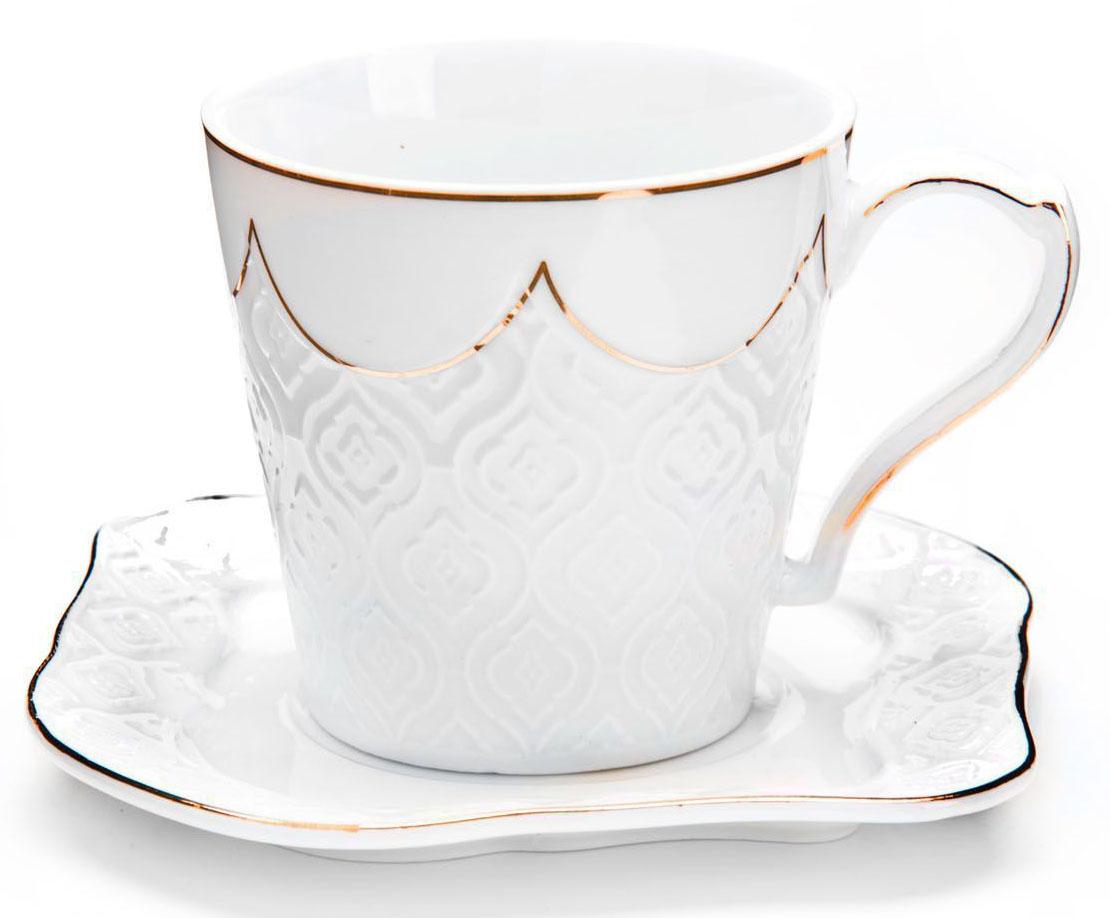 Чайный сервиз Loraine, 200 мл, подарочная упаковка. 2682826828Чайный набор Loraine на 6 персон, изготовленный из высококачественной керамики изысканного белого цвета, состоит из 6 чашек и 6 блюдец. Изделия набора украшены тонкой золотой каймой и имеют красивый и нежный дизайн. Набор придется по вкусу и ценителям классики, и тем, кто предпочитает утонченность и изысканность. Он настроит на позитивный лад и подарит хорошее настроение с самого утра. Набор упакован в подарочную упаковку. Такой чайный набор станет прекрасным украшением стола, а процесс чаепития превратится в одно удовольствие! Это замечательный выбор для подарка родным и друзьям!