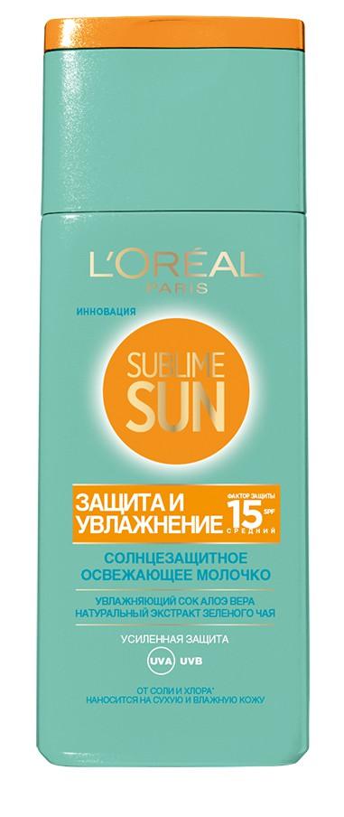 LOreal Paris Sublime Sun Освежающее молочко для лица и тела Защита и Увлажнение, солнцезащитное, SPF 15, 200 мл, с соком Алоэ и экстрактом зеленого чаяA9019500Солнцезащитное освежающее молочко с экстрактом алоэ вера и зелёного чая. Увлажняет вашу кожу и защищает от воздействия солнечных лучей.