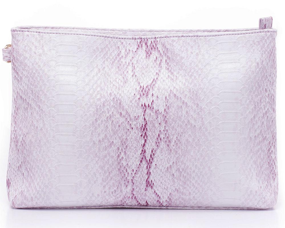 Клатч женский Baggini, цвет: фиолетовый. 29930/4529930/45Клатч женский Baggini выполнен из искусственной кожи с тиснением под кожу рептилии. Модель с одним отделением. Имеется съемный плечевой ремень.