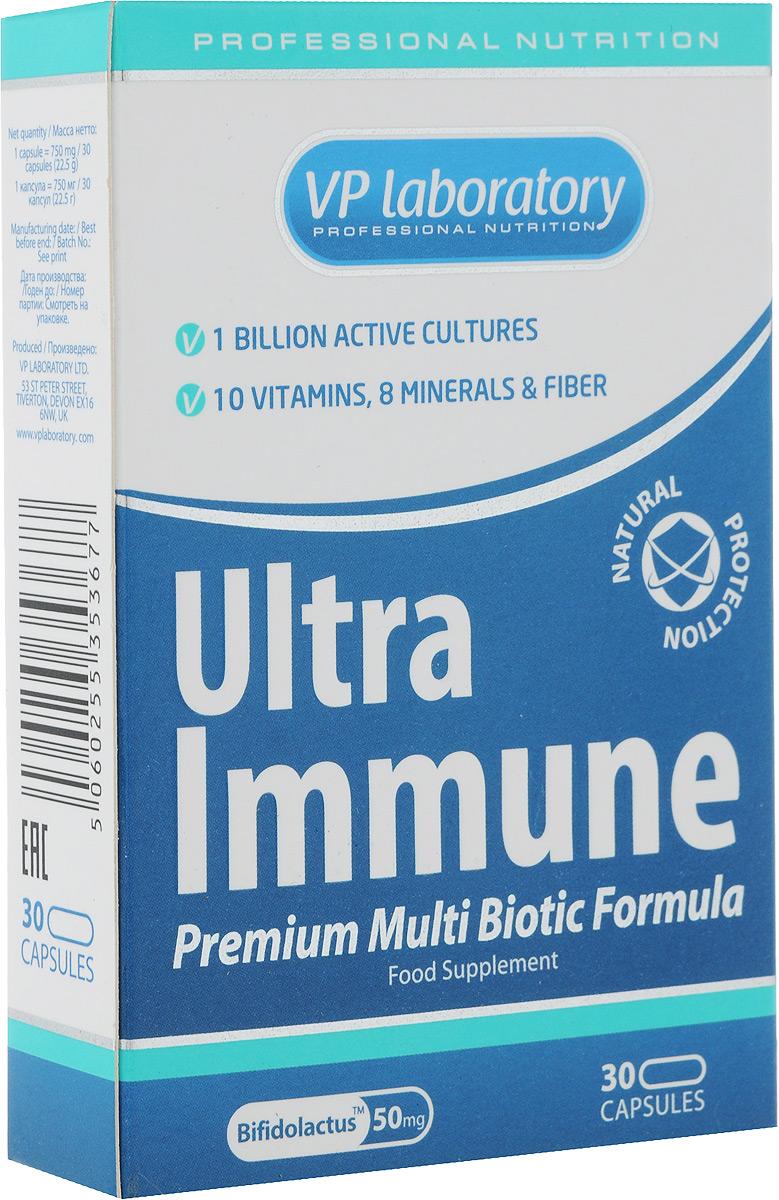 Средство для повышения иммунитета VP Laboratory ULTRA IMMUNE, 30 капсулVP00883Средство для повышения иммунитета VP Laboratory ULTRA IMMUNE - биологически активная добавка к пище с активными культурами бактерий, кулетчаткой, витаминами и минералами. Имеет сбалансированную формулу для укрепления защитных сил организма. При регулярном приеме комплекс ULTRA IMMUNE помогает: • повысить иммунитет и защитить организм от инфекций; • улучшить микрофлору кишечника и процессы пищеварения; • поддержать организм во время восстановления после перенесенных заболеваний или высоких умственных и физических нагрузок; • ежедневно получать необходимые витамины и минералы; • улучшить обмен веществ в организме; • повысить энергию и жизненный тонус, избавиться от усталости; • поддержать здоровье и красоту волос, кожи, ногтей. ULTRA IMMUNE отличается от других подобных комплексов тем, что, кроме полного набора витаминов и минералов на каждый день, он содержит Bifidolactus™ - 9 штаммов полезных...