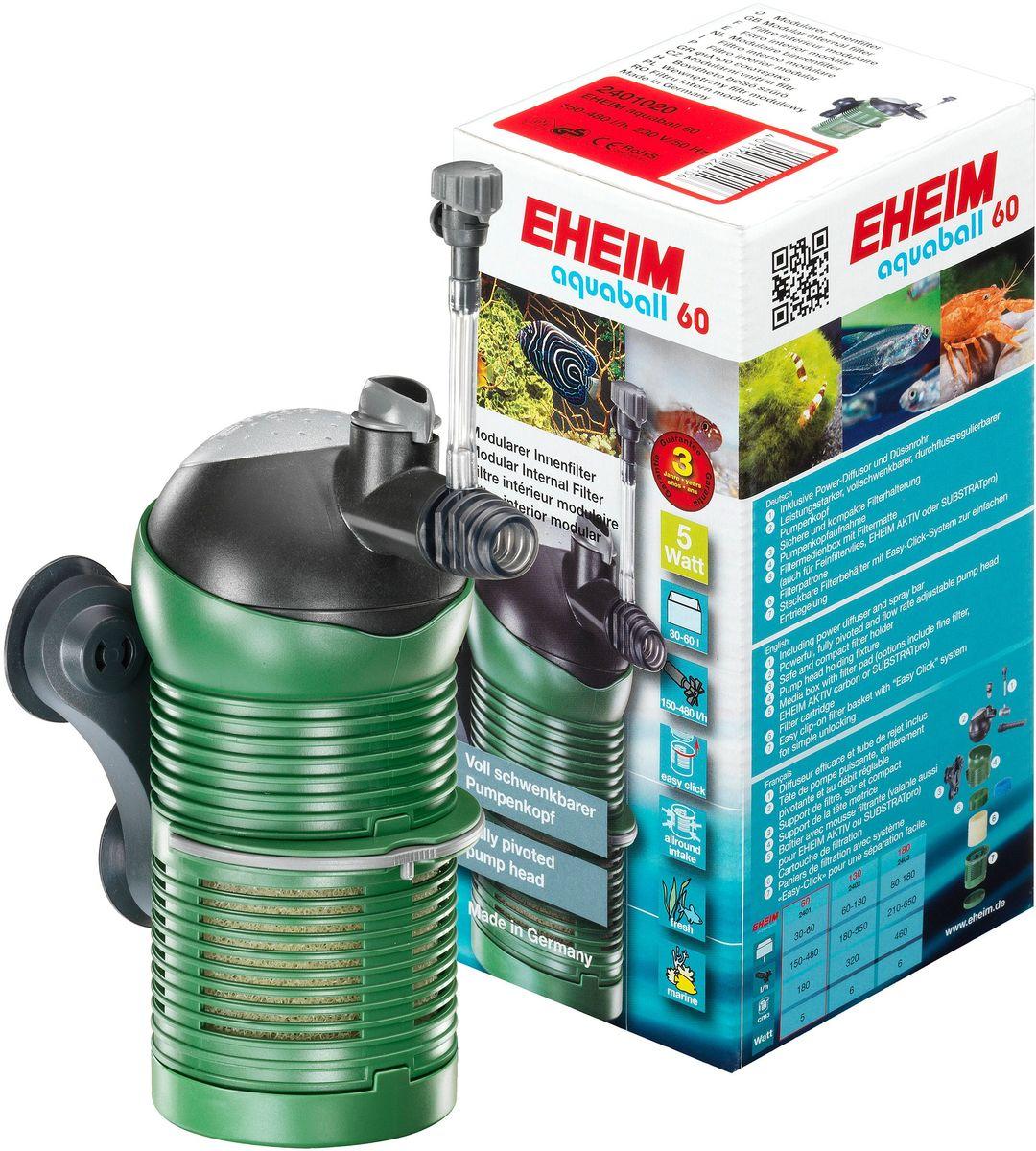 Фильтр внутренний Eheim Aquaball 602401020Снабжен поворотной головкой для регулировки направления потока воды. Всасывание воды со всех сторон для эффективного использования всего фильтра