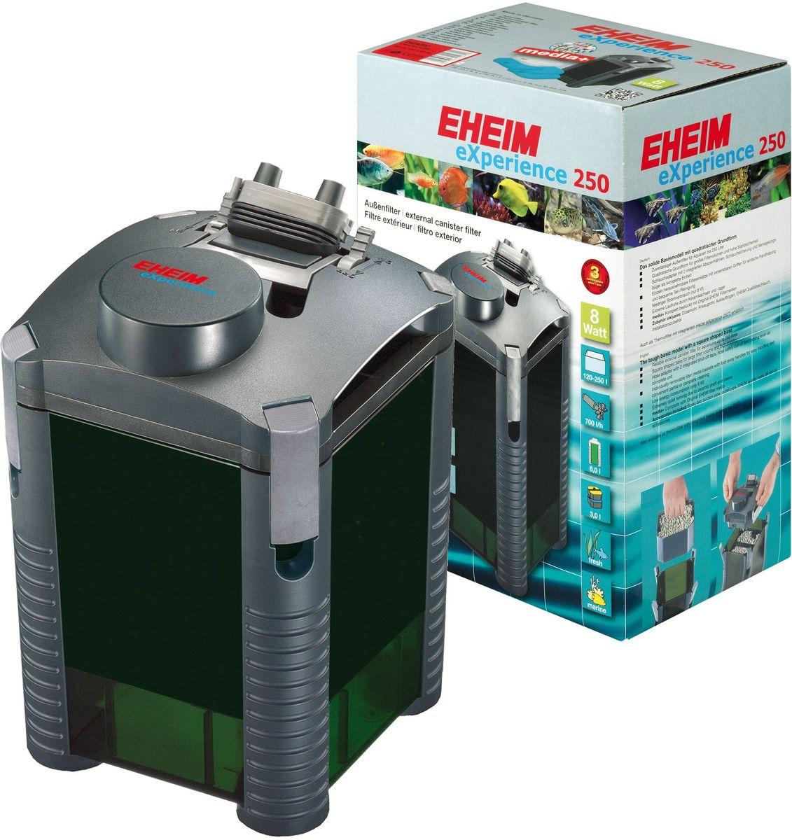 Фильтр внешний Eheim Experience 2502424020Прочная базовая модель квадратной формы для фильтров большого обьема и высокой устойчивости. Съёмный адаптер для шланга со встроенными запорными кранами,защитным покрытием шланга и прижимной скобой в виде единого блока. Отдельно съёмные корзины для наполнителей с выдвижными ручками для удобства при перемещении и удобной частичной/полной очистки.