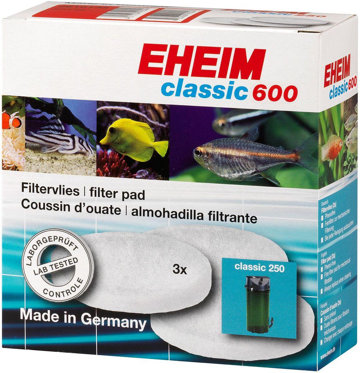 Наполнитель для фильтра Eheim Classic 600, синтепон, 3 шт2616175Губка мелкопористая для фильтров CLASSIC предназначена для завершающей стадии очистки воды.