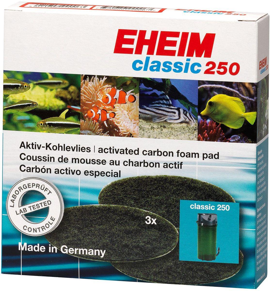 Наполнитель для фильтра Eheim Classic 250, угольный, 3 шт2628130Губка пористая с активированным углем для фильтров CLASSIC применяется при запуске аквариума или после медикаментозного лечения. Эффективно удаляет вредные вещества-хлор, остатки лекарств.
