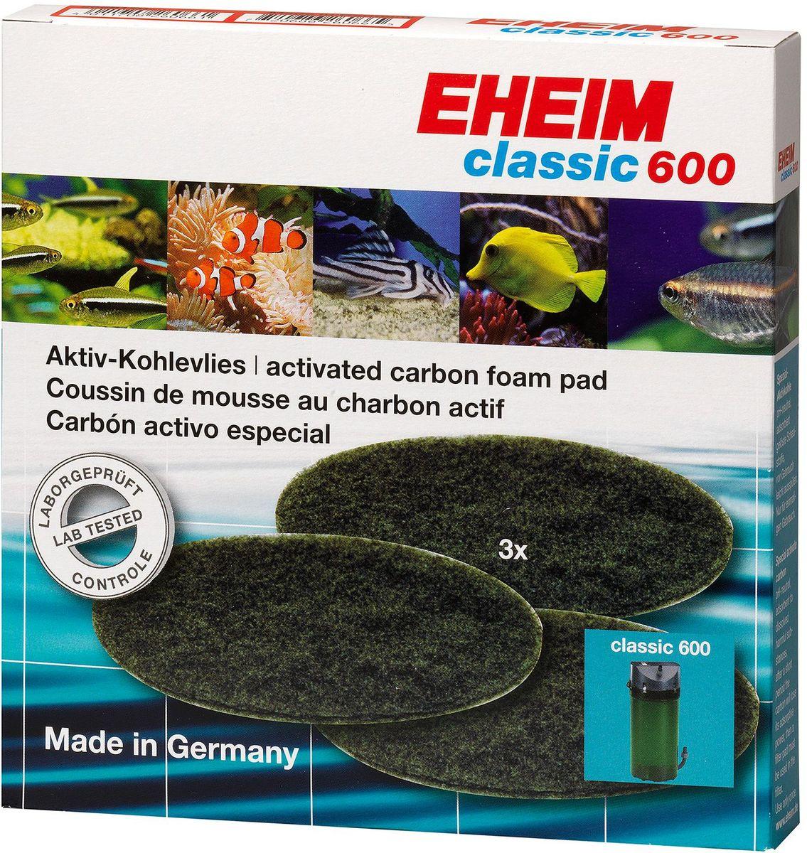 Наполнитель для фильтра Eheim Classic 600, угольный, 3 шт2628170Губка пористая с активированным углем для фильтров CLASSIC применяется при запуске аквариума или после медикаментозного лечения. Эффективно удаляет вредные вещества-хлор, остатки лекарств.