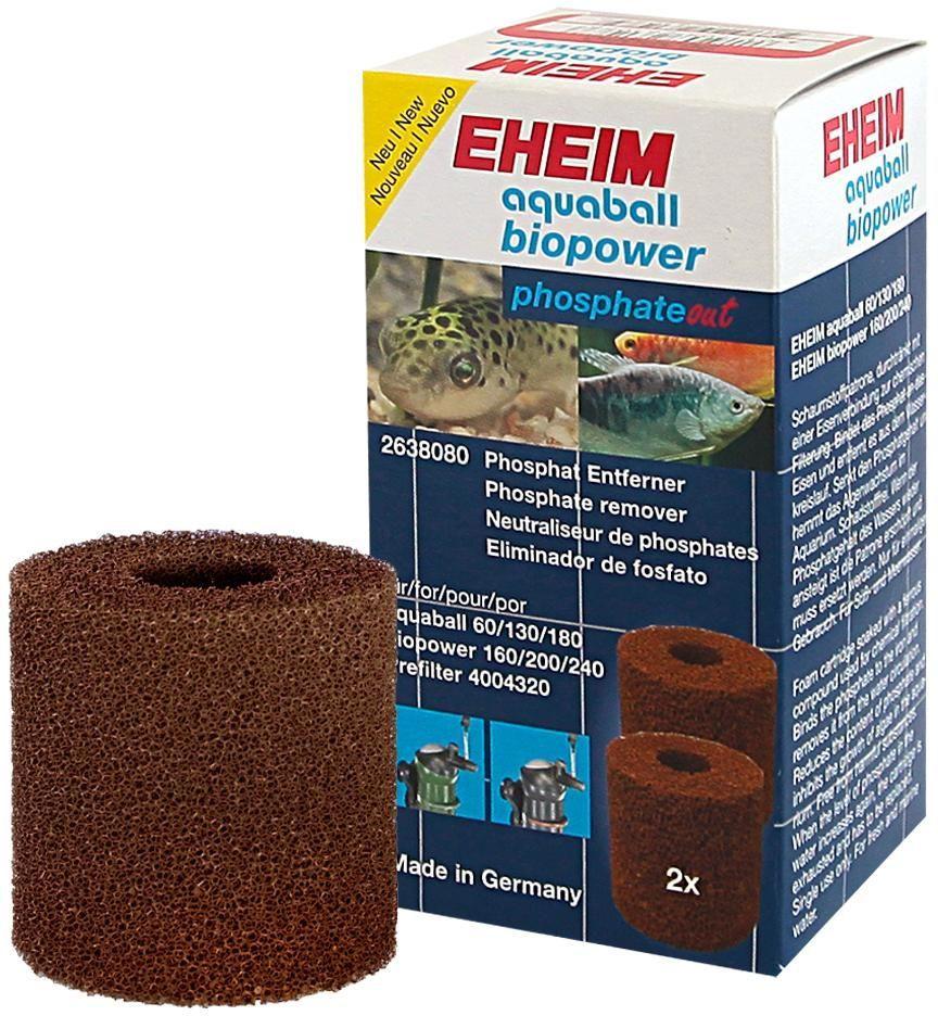 Картридж для фильтра Eheim Aquaball Biopower, фосфат, 2 шт2638080Картридж из пористой губки обработанный специальным железом для фильтров AQUABALL 60/130/180 и BIOPOWER 160/200/240 эффективно ограничивает содержание фосфатов в воде.