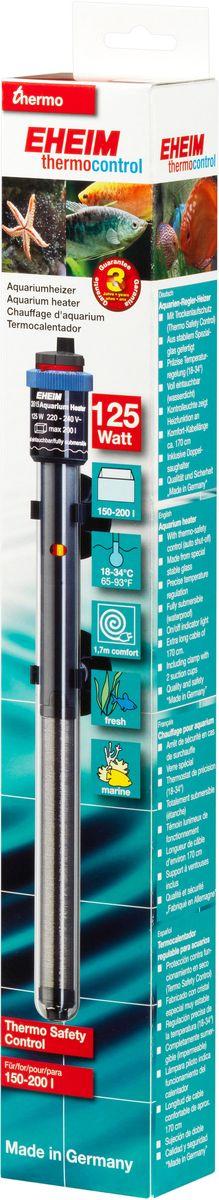 Нагреватель воды Eheim Jager, 125 ВТ (150-200 л)3615010Нагреватель изготовлен из высокопрочного специального стекла. Имеет удобную регулировку температуры.Герметичен, можно полностью погружать в воду. Обеспечивает высокую точность заданной температуры+/-0,5*С. Длина кабеля-170см. Для пресноводных и морских аквариумов.
