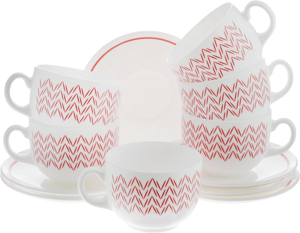 Набор чайный Luminarc Battuto, 12 предметовJ7842Чайный набор Luminarc Battuto состоит из шести чашек и шести блюдец. Предметы набора изготовлены из высококачественного стекла и обладают высокой степенью прочности, устойчивостью к царапинам и резким перепадам температур. Чайный набор яркого и лаконичного дизайна, украсит интерьер кухни и сделает ежедневное чаепитие настоящим праздником. Можно использовать в микроволновой печи, и мыть в посудомоечной машине. Бренд Luminarc - это один из лидеров мирового рынка по производству посуды и товаров для дома. В основе процесса изготовления лежит высококачественное сырье, а также строгий контроль качества. Товары для дома Luminarc уважают и ценят во всем мире, а многие эксперты считают данного производителя эталоном совершенства. Объем чашек: 220 мл. Диаметр чашек (по верхнему краю): 7,5 см. Высота чашек: 6 см. Диаметр блюдец: 13,5 см.