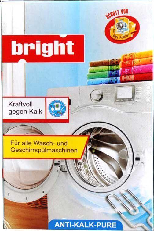 Чистящее средство от накипи Bright, для посудомоечных и стиральных машин, 250 г105112Предназначено для удаления накипи с нагревательных элементов ПММ и стиральных машин, а также других бытовых электрических приборов. Применение: Растворить 40-50г (2-3 столовые ложки) порошка в 250-500мл теплой воды, залить в бытовой прибор и дать ему поработать без загрузки в основном режиме 5-10 мин Состав: сульфаминовая кислота, лимонная кислота, сода, наполнители.