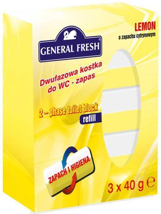 Двухкомпонентный ароматический вкладыш к подвеске General Fresh, 3 х 40 г. 514022514022Двухкомпонентный ароматический блок для унитазов обладает антибактериальным эффектом. Обеспечивает: устойчивый свежий аромат в туалетной комнате, гигиеническую чистоту и защиту от известкового налета.
