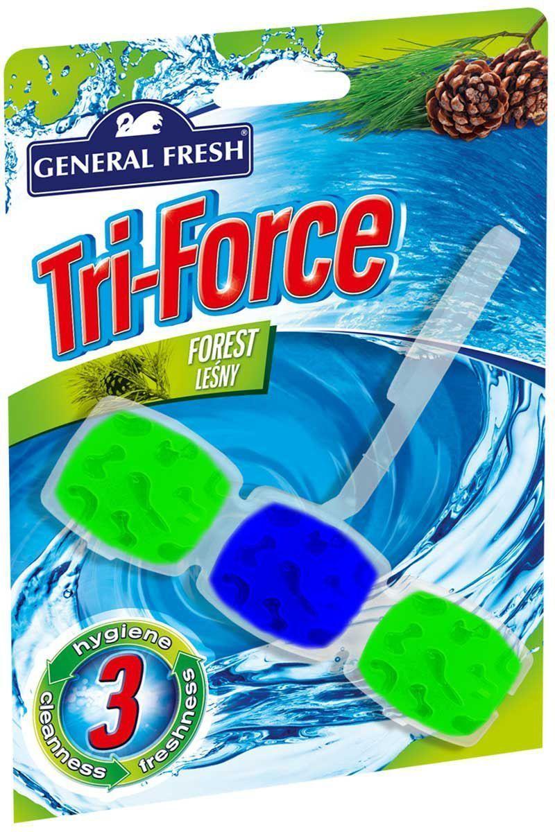 Подвеска General Fresh Тройная сила. Kostka WC Tri-Force, для очистки и ароматизации туалета, 1 шт. 517002517002высокоэффективная инновационная формула освежителя для унитазов Tri-Force обеспечивает идеальную чистоту и свежесть. Тройная сила ингредиентов создает обильную, густую пену, которая убивает микробы надолго и обеспечивает наибольший чистящий эффект.