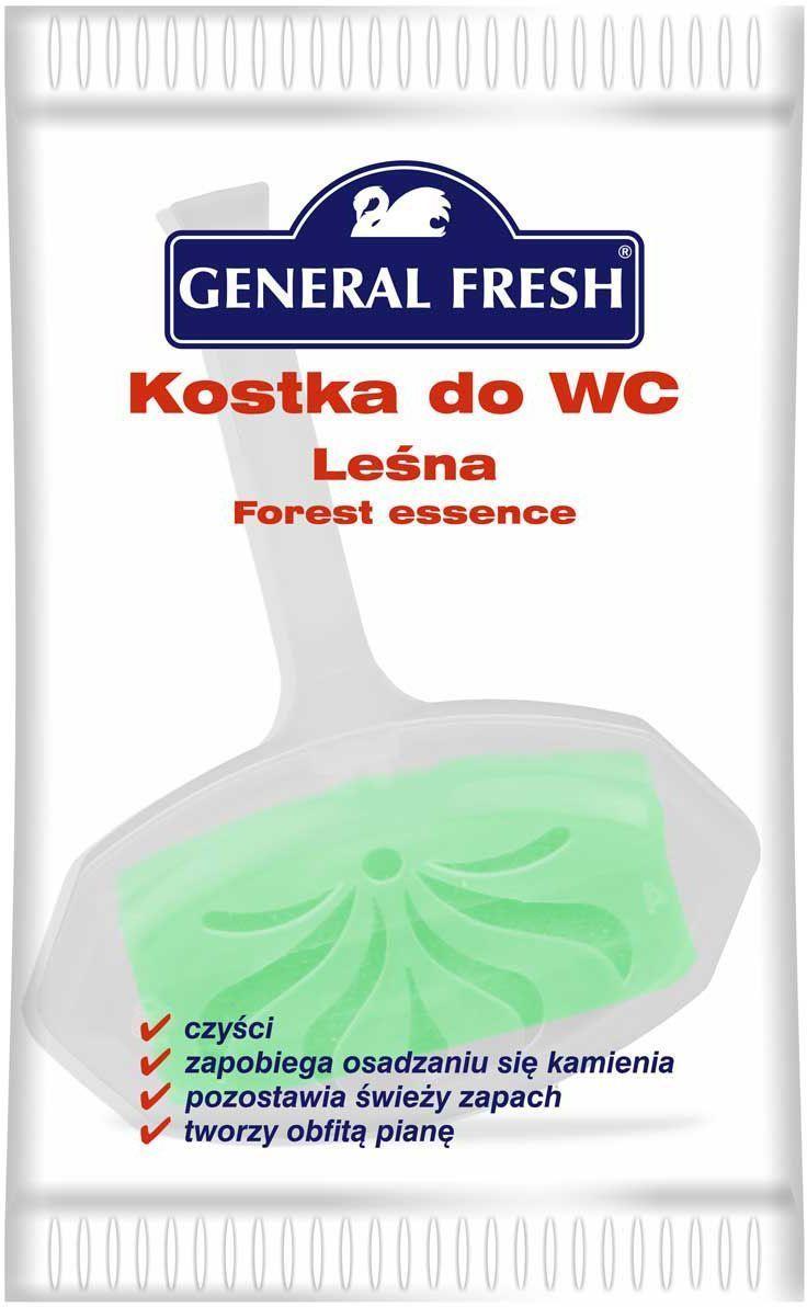 Подвеска для унитазов General Fresh Kostka do WC, в целлофане, 1 шт. 560100560100Моющее и освежающее средство для унитаза длительного действия с различными ароматами. Закрепляется за край унитаза и при каждом смыве моет и дезинфицирует поверхность, ароматизируя воздух. Убивает бактерии, предотвращает образование отложений в труднодоступных местах.