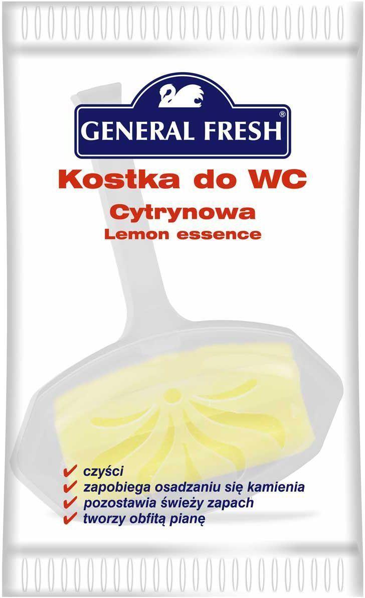 Подвеска для унитазов General Fresh Kostka do WC, в целлофане, 1 шт. 560300560300Моющее и освежающее средство для унитаза длительного действия с различными ароматами. Закрепляется за край унитаза и при каждом смыве моет и дезинфицирует поверхность, ароматизируя воздух. Убивает бактерии, предотвращает образование отложений в труднодоступных местах.