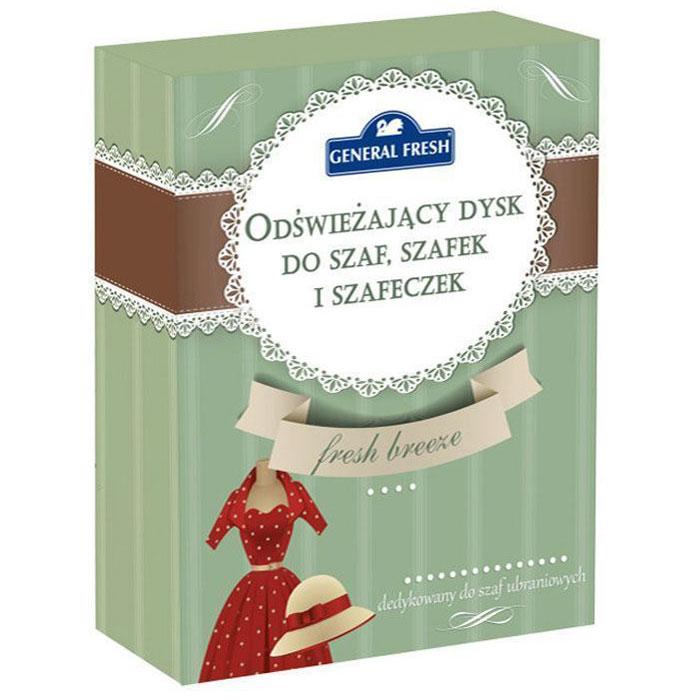 Освежающий диск General Fresh, ароматизированный, для шкафов, 1 шт. 587121587121Освежающий ароматизированный диск для шкафов со специальными компонентами, входящими в состав освежителя, обеспечивает длительную свежесть и приятный запах. Благодаря формуле, нейтрализующей неприятные запахи, освежитель прекрасно подойдет также для обувных полок. Не загрязняет одежду.