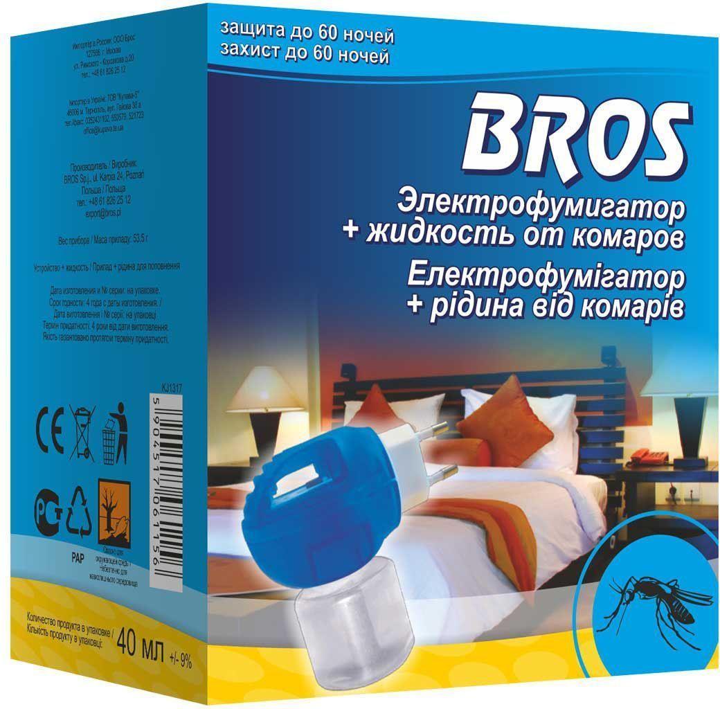 Электрофумигатор BROS, в комплекте жидкость от комаров, на 60 ночей, 1 шт.710246BROS Электрофумигатор и жидкость от комаров 60 ночей. Обеспечивая защиту от летающих насекомых, в особенности, комаров, и мух. Включенное в розетку устройство вызывает испарение вещества, которое воздействует на насекомые, уже находящиеся в помещении, а также защищает помещение от новых, влетающих снаружи. Длительное действие препарата гарантирует спокойный сон в течение многих летних ночей. Для уничтожения комаров и других летающих насекомых (москитов, мошек) в помещениях в практике медицинской дезинсекции специалистами организаций, имеющих право заниматься дезинфекционной деятельностью, и в быту. Защищает помещение до 20 м2 (около 50 м3) в течение 60 ночей при применении 8 часов в день. Оптимальная защита начинается уже через 30 мин. после включения. Применение: Достать из упаковки флакон с жидкостью, снять защитный колпачок, ввернуть флакон в электрофумигатор до упора и включить его в электросеть (220 V) при вертикальном положении флакона. При открытых окнах или...