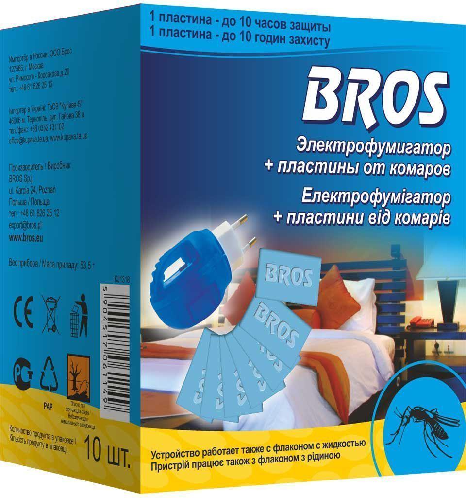 Электрофумигатор BROS, в комплекте 10 пластин от комаров, 1 шт.710248BROS Электрофумигатор и 10 пластин от комаров. Устройство с картриджами в форме пластины обеспечивает эффективную защиту помещения от насекомых, особенно комаров и мух. Многочасовое действие испаряющегося вещества обеспечивает защиту помещения в течение всей ночи. Доступны запасные упаковки с картриджами. 1 шт 1 пластина = 12 часам защиты. Электрофумигатор с пластинами голубого цвета, пропитанными инсектицидным раствором. для уничтожения комаров и других летающих кровососущих насекомых (мошек, москитов) в помещениях в быту. Действуют даже при открытых окнах и включенном свете. Одна пластина рассчитана на работу в течение 10 часов в помещении площадью до 20м2 (объемом до 50 м3). Средство начинает действовать через 10-15 минут после включения, полное уничтожение насекомых достигается примерно за 30 минут. Применение: Достать из упаковки картонную пластину, поместить пластину в щель электрофумигатора, затем включить прибор в электросеть (220 V). Использованная пластина...