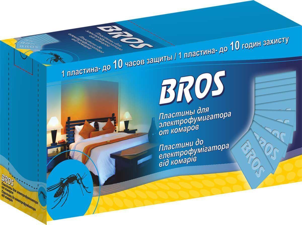 Пластины от комаров BROS, к электрофумигартору, 10 шт.710249BROS Пластины от комаров к электрофумигартору. Пластины обеспечивают эффективную защиту помещения от насекомых, особенно комаров и мух. Многочасовое действие испаряющегося вещества обеспечивает защиту помещения в течение всей ночи. 10 шт 1 пластина = 12 часам защиты Пластины голубого цвета, пропитанные инсектицидным раствором для уничтожения комаров и других летающих кровососущих насекомых (мошек, москитов) в помещениях в быту. Действуют даже при открытых окнах и включенном свете. Одна пластина рассчитана на работу в течение 10 часов в помещении площадью до 20м2 (объемом до 50 м3). Средство начинает действовать через 10-15 минут после включения, полное уничтожение насекомых достигается примерно за 30 минут. Применение: Достать из упаковки картонную пластину, поместить ee в щель электрофумигатора, затем включить прибор в электросеть (220 V). Использованная пластина изменяет цвет. Ее следует заменить, предварительно отключив электрофумигатор. Прибор выключить,...