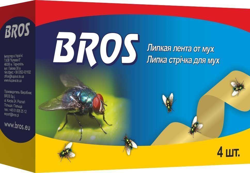Лента от мух BROS, висячие, 4 шт.710278BROS Висячие ленты-мухоловы. Не содержит инсектицидных веществ. Формула невысыхающего клея обеспечивает долговременную эффективность при различной температуре и влажности. Лента защищает также от фруктовых мушек и пищевой моли. 4 шт Липкая лента от мух для уничтожения мух в помещениях. Применение: Перед применением разогреть ленту в руках. Медленно при легком поворачивании вытянуть ленту за петлю из упаковки. Подвесить ленту в местах наибольшего скопления мух из расчета 1 - 2 ленты в помещении площадью 15 м2. Ленты можно применять в присутствии людей, домашних животных, птиц, рыб. Состав: ароматические алифатические смолы, функциональные и технологические компоненты. Не содержит инсектицидов.