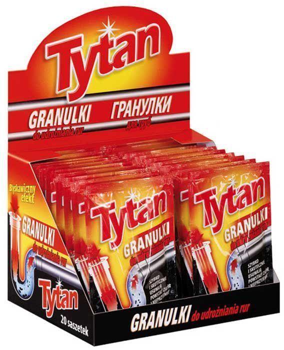 Гранулированное средство Tytan, для чистки канализационных труб, 1 х 50 г730510Гранулированный порошок для улучшения проходимости труб TYTAN предназначен для труб кухонных раковин, раковин-умывальников, ванн и прочего водоотводящего оборудования. Быстро и эффективно растворяет кухонные отходы, волосы, старый жир и бумагу. Оставляет после себя свежий запах.