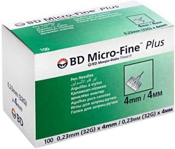 Иглы для шприц-ручки BD Micro-Fine Plus, 0,23 мм (32G) х 4 мм, 100 шт1720Одноразовые иглы для шприц-ручек. Инсулиновые иглы универсальные и подходят ко всем типам шприц-ручек. Длина иглы 4 мм. Диаметр 0,23мм (32G). Данный размер иглы подходит новорожденным и маленьким детям.