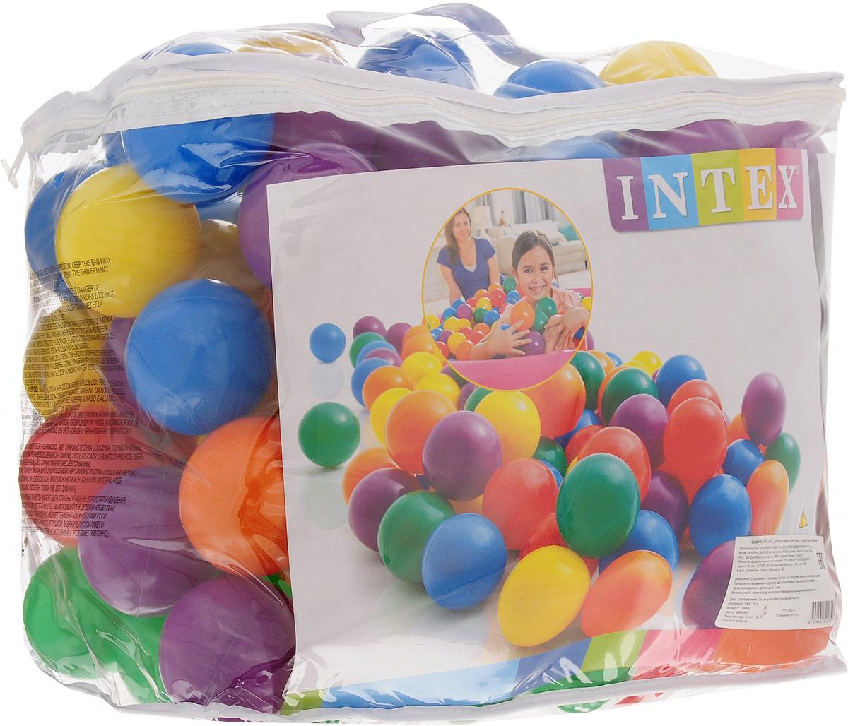 Intex Набор пластиковых шариков для сухого бассейна диаметр 8 см 100 шт с49600