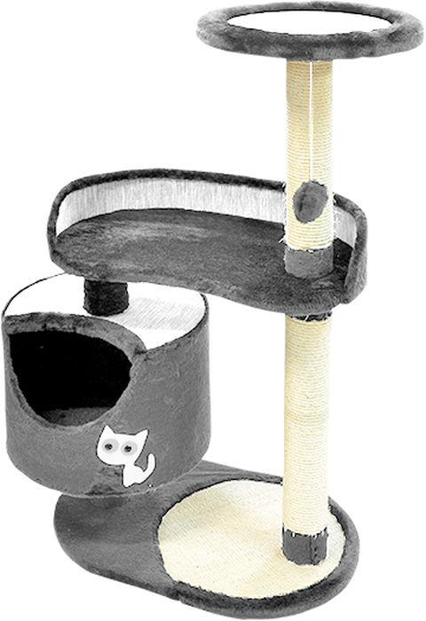 Комплекс для кошек Зооник, цвет: серый, 82 х 43 х 118 см22101-3Дом для кошек круглый Зооник изготовлен из коврового велюра. Просторный домик подойдет для котят и для взрослых кошек. Над основным местом отдыха находится 2-е дополнительных площадки, на которых ваш любимец сможет полежать свесив лапки. Также предусмотрена когтеточка из комбинированной веревки(пенька/сизаль) и подвесная игрушка. Крышу домика украшает аппликация в виде кошки. Домики ТМ Зооник отличает высокое российское качество при доступной цене. Цвет серый.